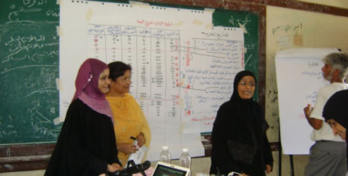 People in front of noticeboard at workshop in Aden