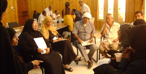 A group discussion at a workshop in Aden