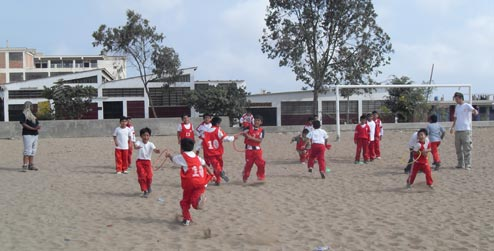 Boys playing at a school in Peru
