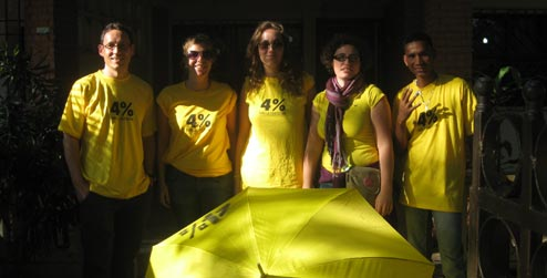 Progressio and Christian Aid staff in yellow t-shirts