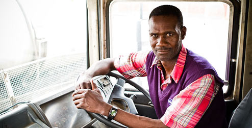 A truck driver in Zimbabwe