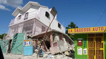A collapsed building in Haiti