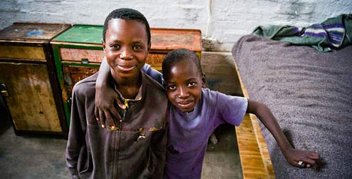 Two children at a local project in Zimbabwe