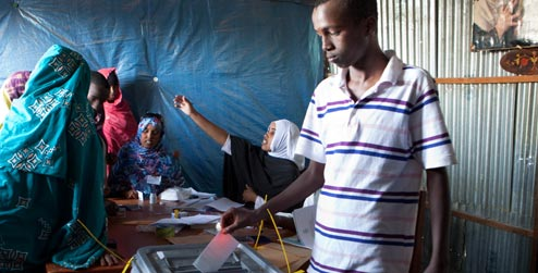 Young man voting in Somaliland