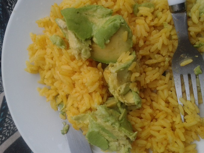 Avocado and rice. Simple and filling.
