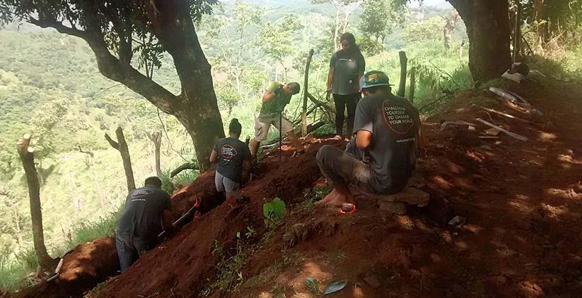 Volunteers doing bio-construction work