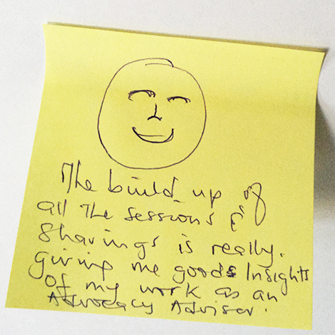Positive feedback from an advocacy adviser who attended one of the advocacy and communications training sessions for the Amplified for Change project