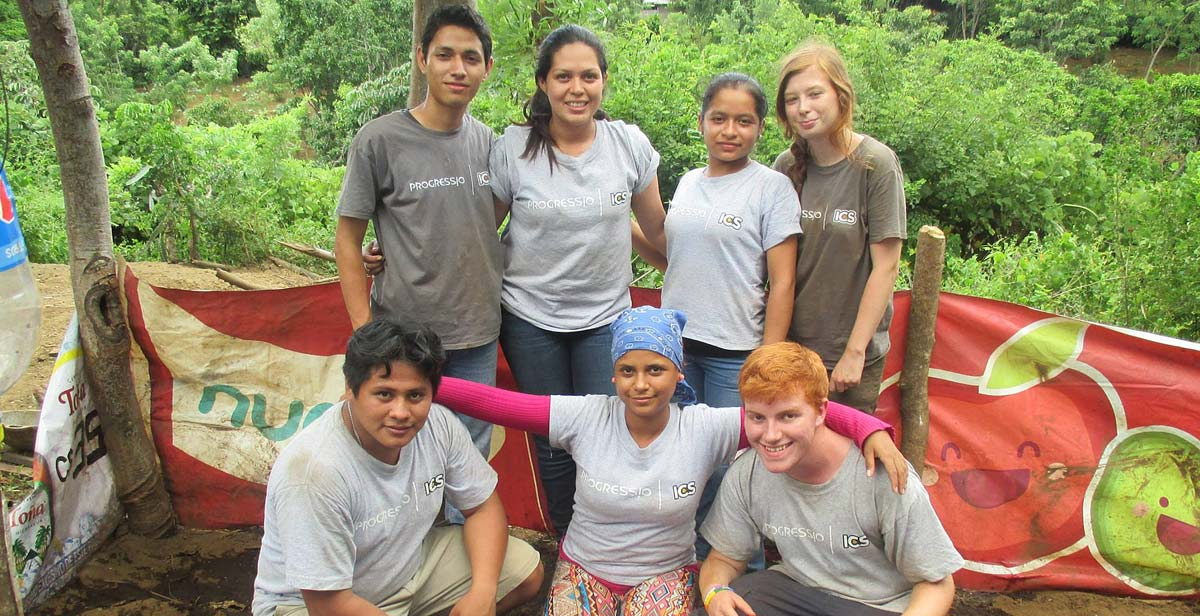 Griselda with her team at a veggie patch they constructed