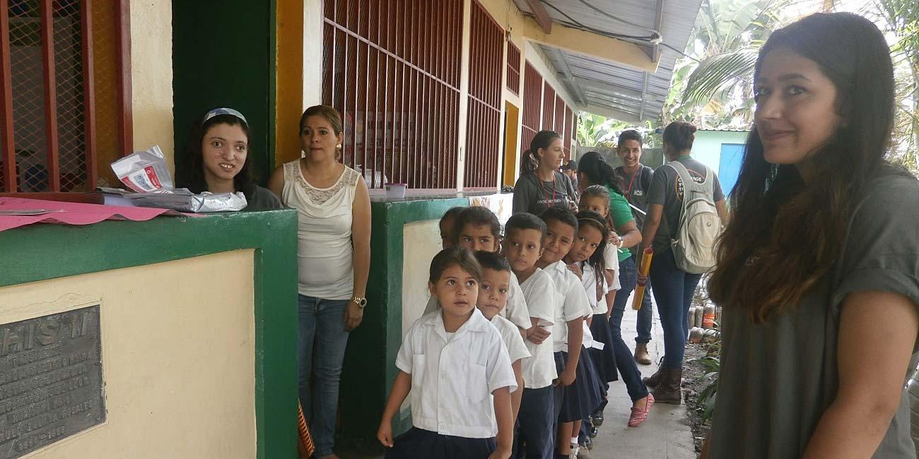 Henna and Sophia at a local school in Catacamas