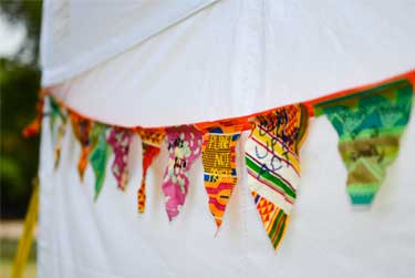 colourful flags strung up as bunting