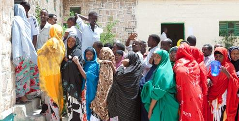 People waiting to vote in Somaliland 2010