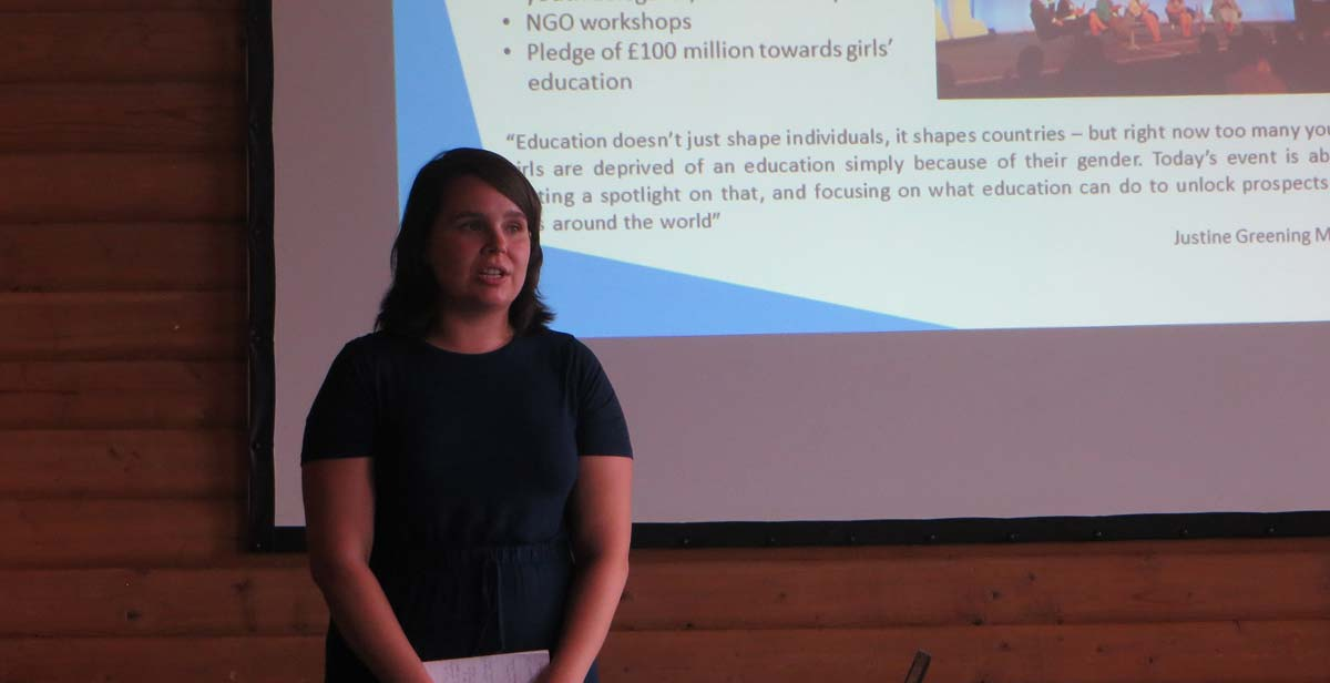 Josie giving a presentation at the Returned Volunteers Event in the UK