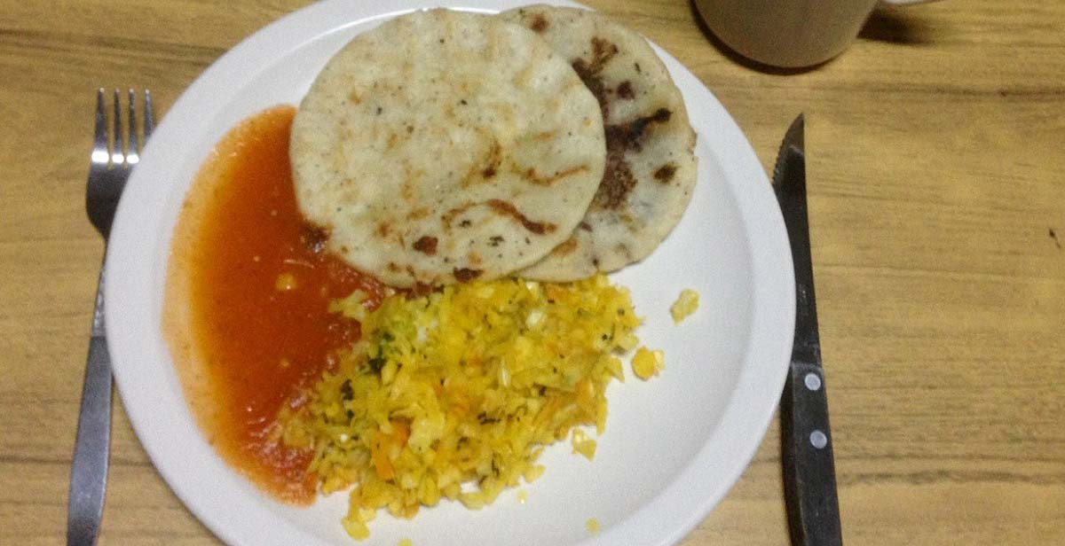 Dinner - pupusas, curtido and salsa roja