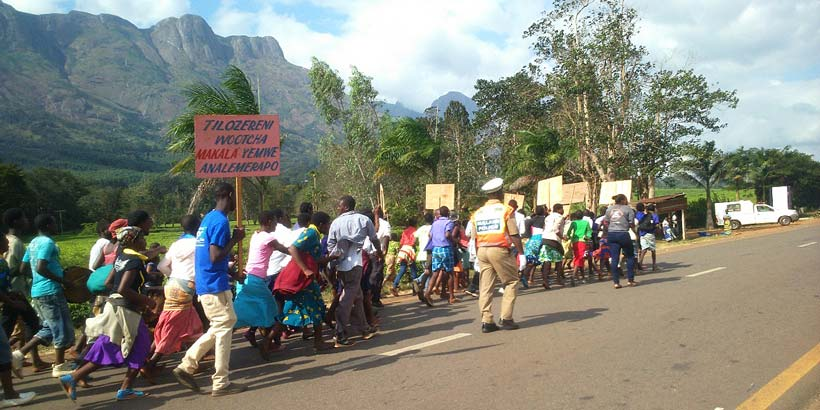 Schools, youth clubs and Mulanje community members join together for the procession across Mulanje