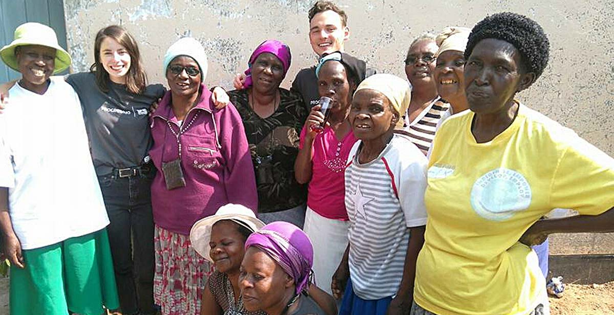 James and Katie pose for a picture with grannies after the IGA workshop