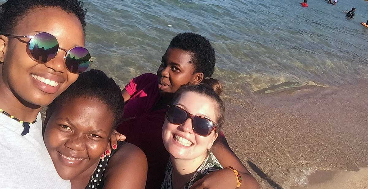 Nicole and Liv with fellow volunteers at Lake Malawi