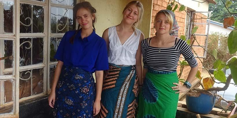 Anna, Ellie and Kitty wear chitenje, a skirt worn by all Malawian women