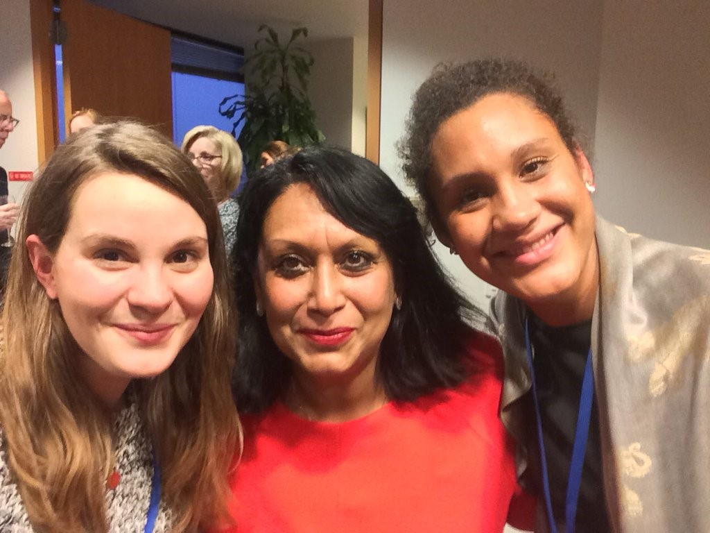 Our Campaigns Officer Jenny Vaughan (left) and Fatima Haase (right) with Baroness Verma (centre), the Parliamentary Under Secretary of State for International Development and Ministerial Champion for tackling Violence Against Women & Girls Overseas