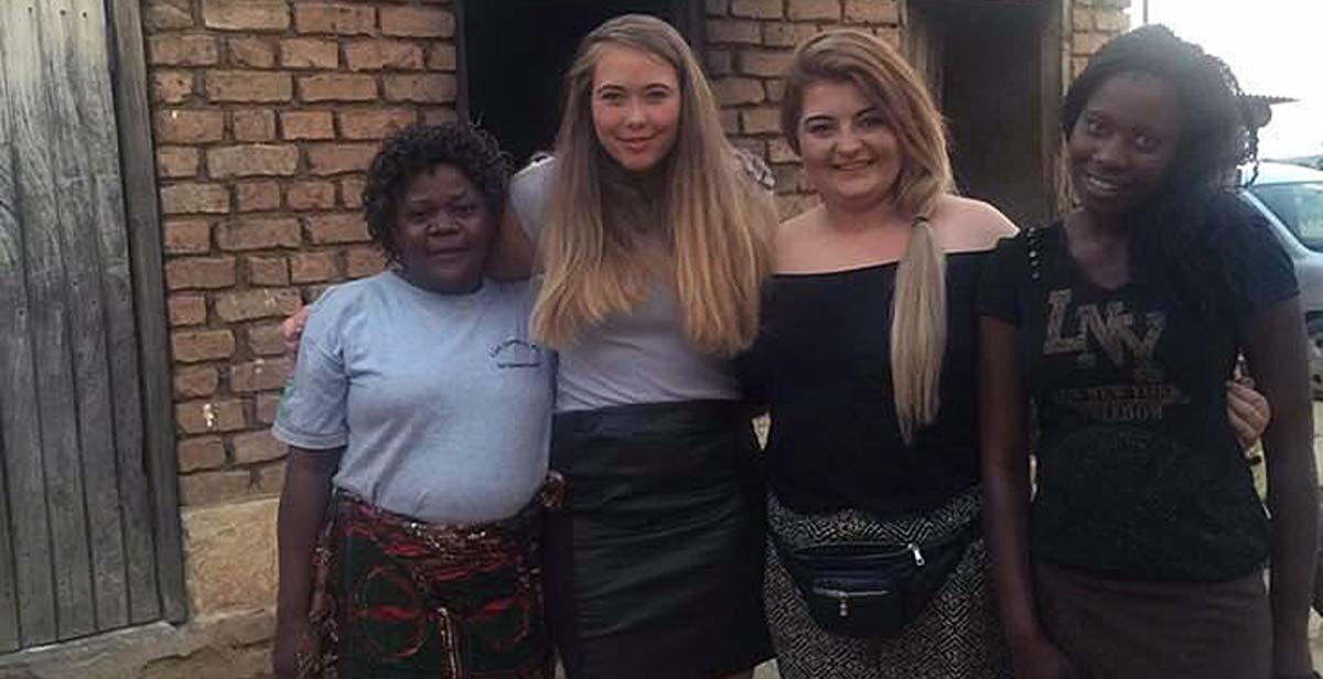 Kimberley and Abbe Smith with their host family