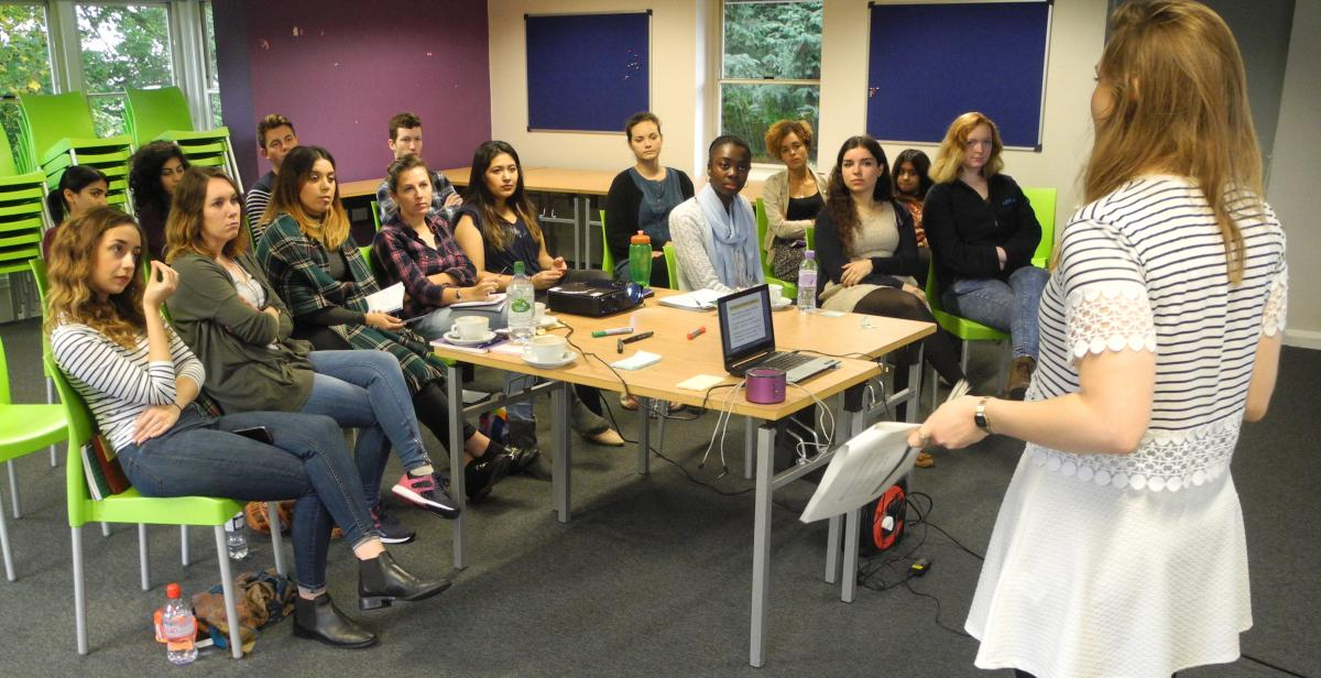 Campaigns Officer, Jenny Vaughan, presents to members of the Empower network.