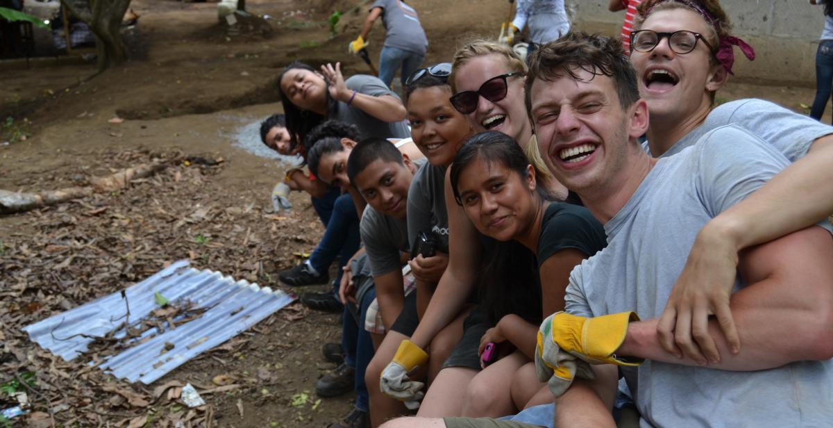 Volunteers building eco-latrines in Nicaragua