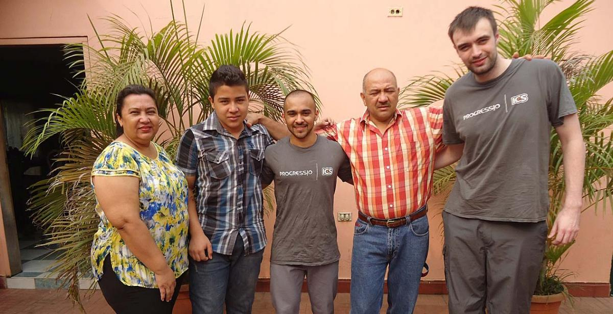 Pritesh and Aaron with their host family