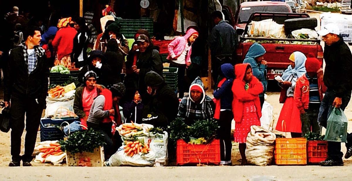 Honduran women selling produce at a market in La Esperanza