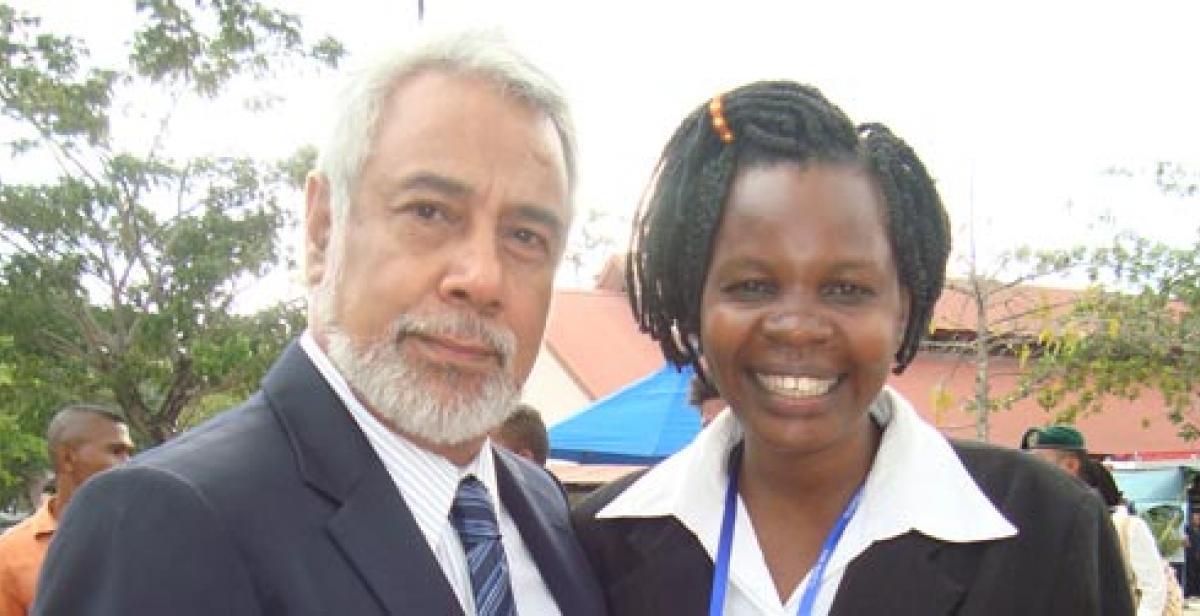 Development worker Margaret Happy with the Prime Minister of Timor-Leste