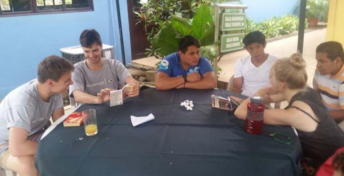 Learning Spanish and English as the volunteers from both countries meet.