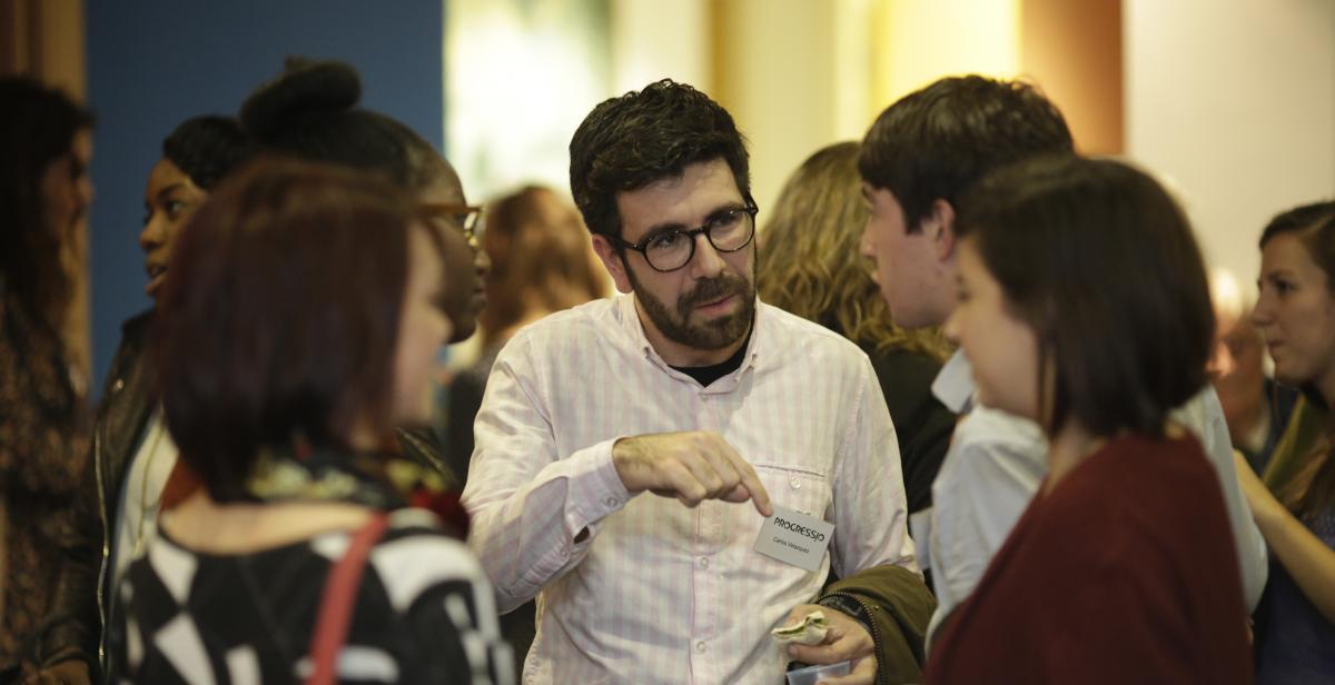 Progressio supporters chatting