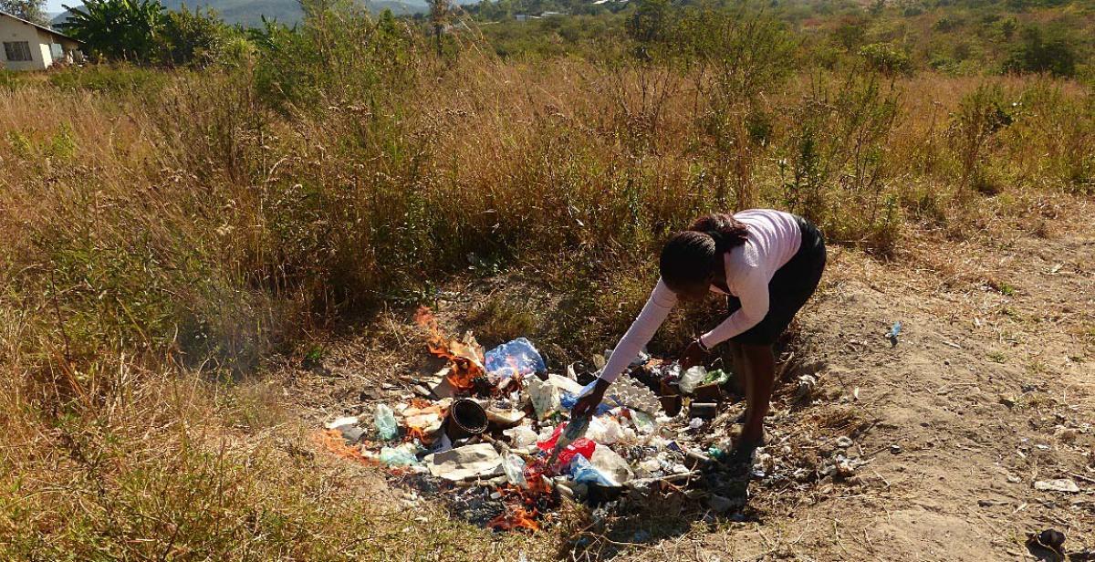 Burning the rubbish