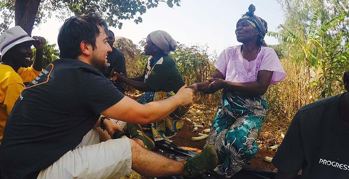 Kieran and Wachisa meeting the local community at Njiri