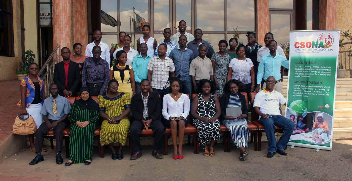 Lubowa Eriasafu (5th on the front row from the right) in a joint photo with the participants of a training workshop on Advocacy for CSONA members in Lilongwe