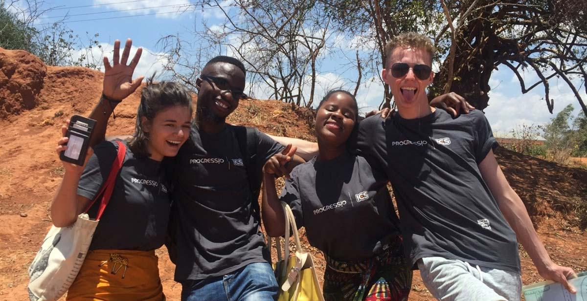 L-R: Leeha, Blessings, Chimwemwe & Nathaniel celebrating after a successful Peer Education Session