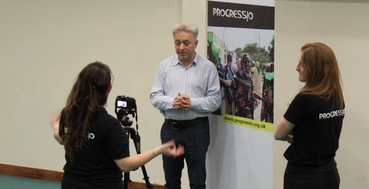 Novelist Frank Cottrell-Boyce being interviewed at the Liverpool Diocese ZimFare and ZimFast launch event
