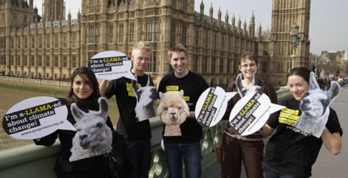 Progressio climate change campaigners outside Houses of Parliament