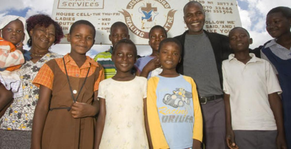 Children at a community centre in Zimbabwe