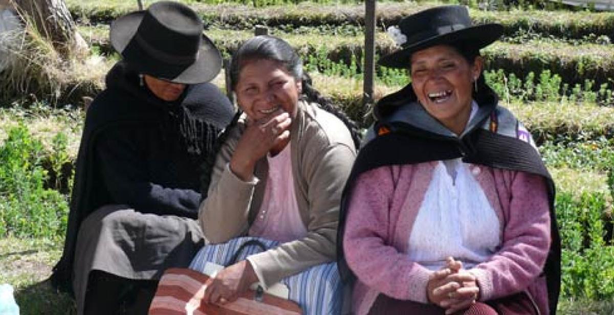 Victoria Cruz (on right) a women's leader in Huancavelica Peru