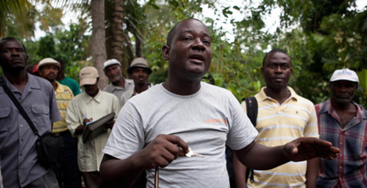 Gabriel Petit-Homme addresses villagers