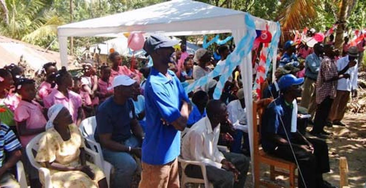 Villagers at the cassava factory inauguration