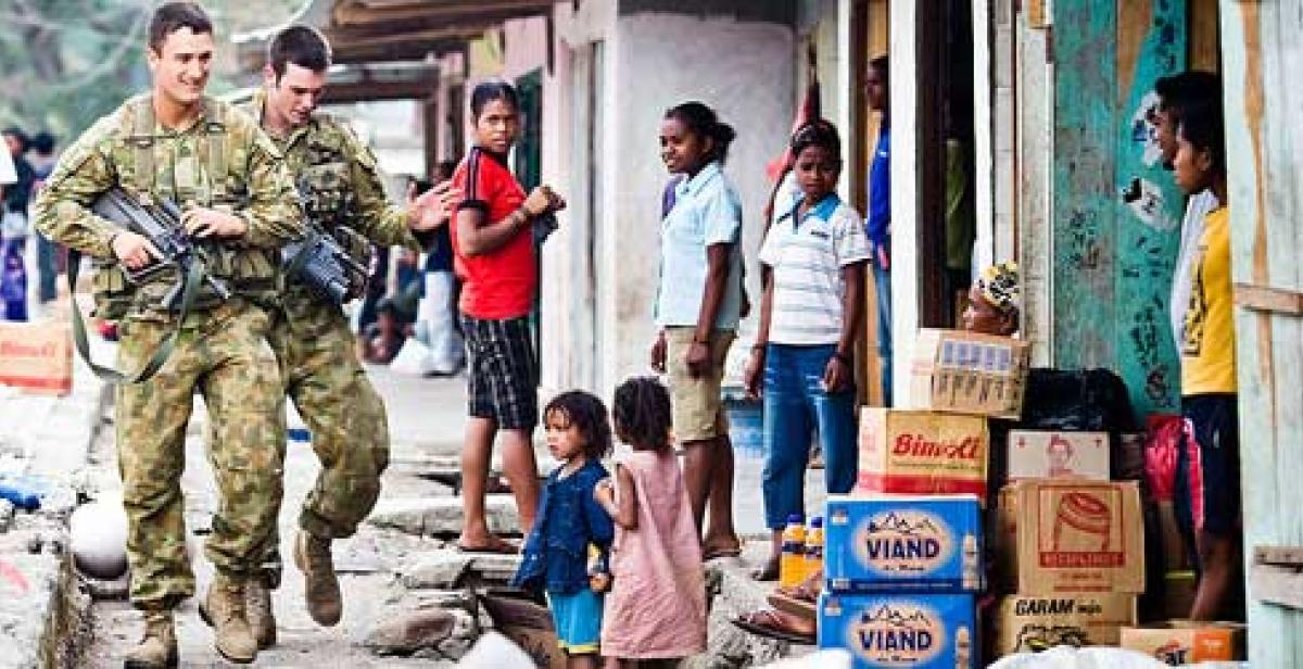 Peacekeeping soldiers in a street in Dili, Timor-Leste