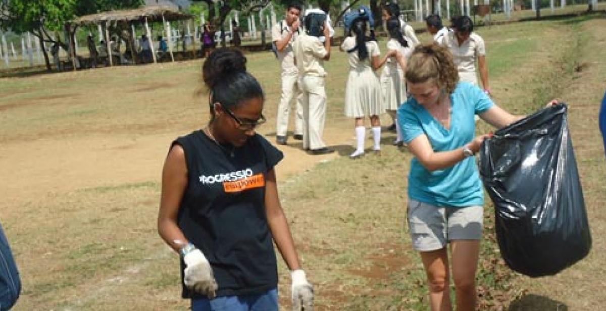ICS volunteers collecting litter