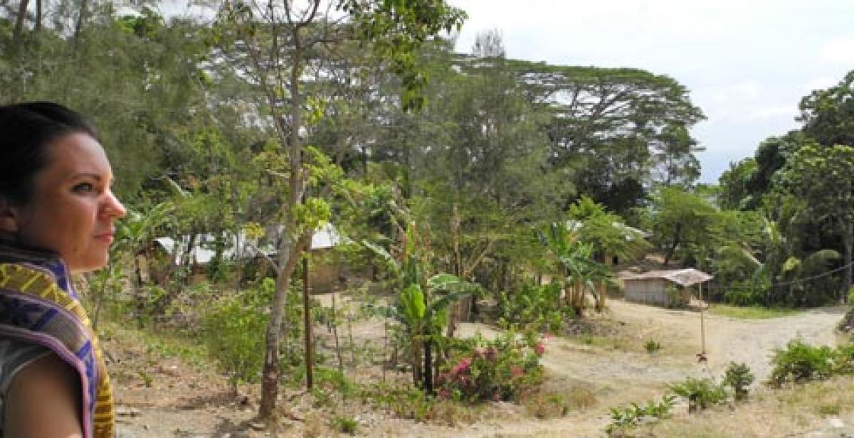 Charlotte Maugham in Locoliu village Timor-Leste