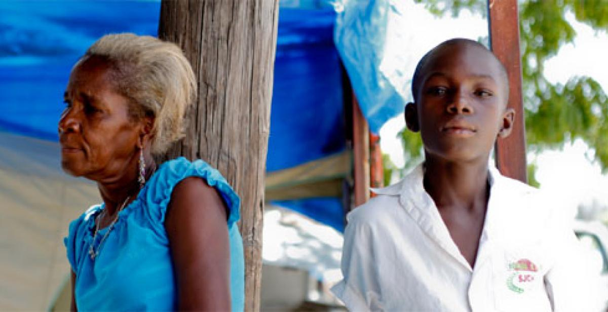 A woman and boy in Haiti