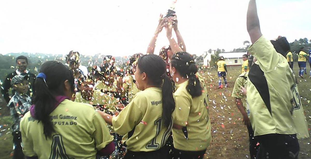A women's football team in Belén, Honduras