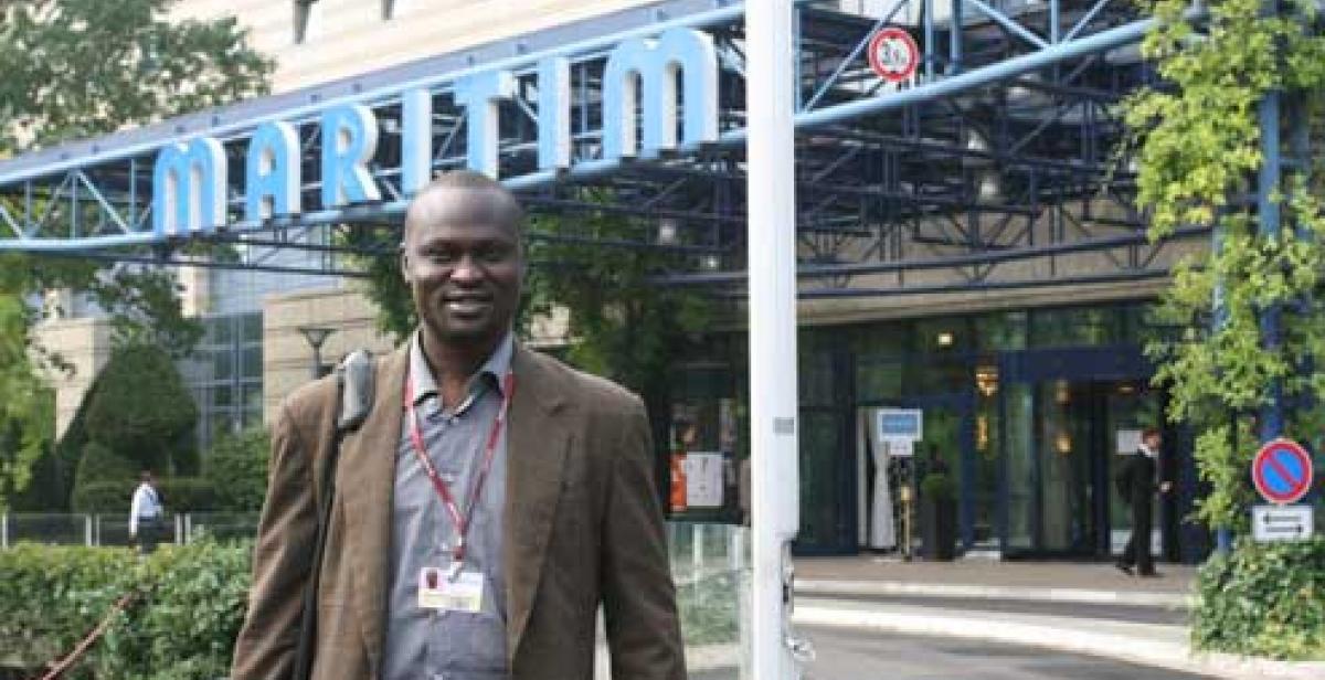 Innocent Ogaba outside the conference centre in Bonn