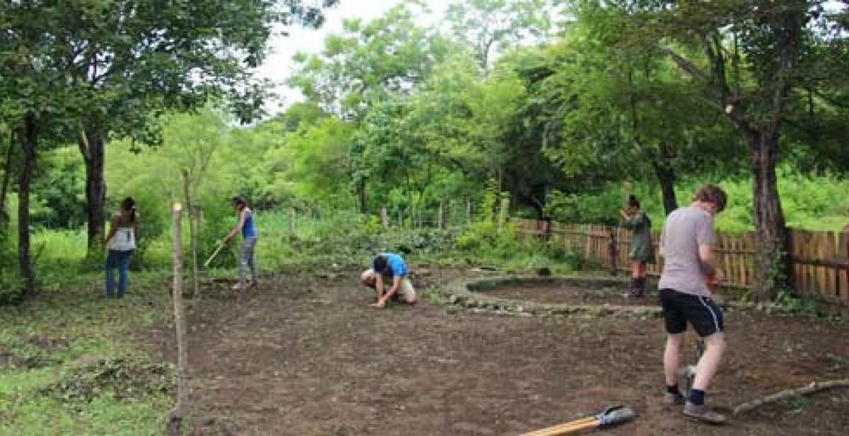 Volunteers working on a vegetable garden in Nicaragua