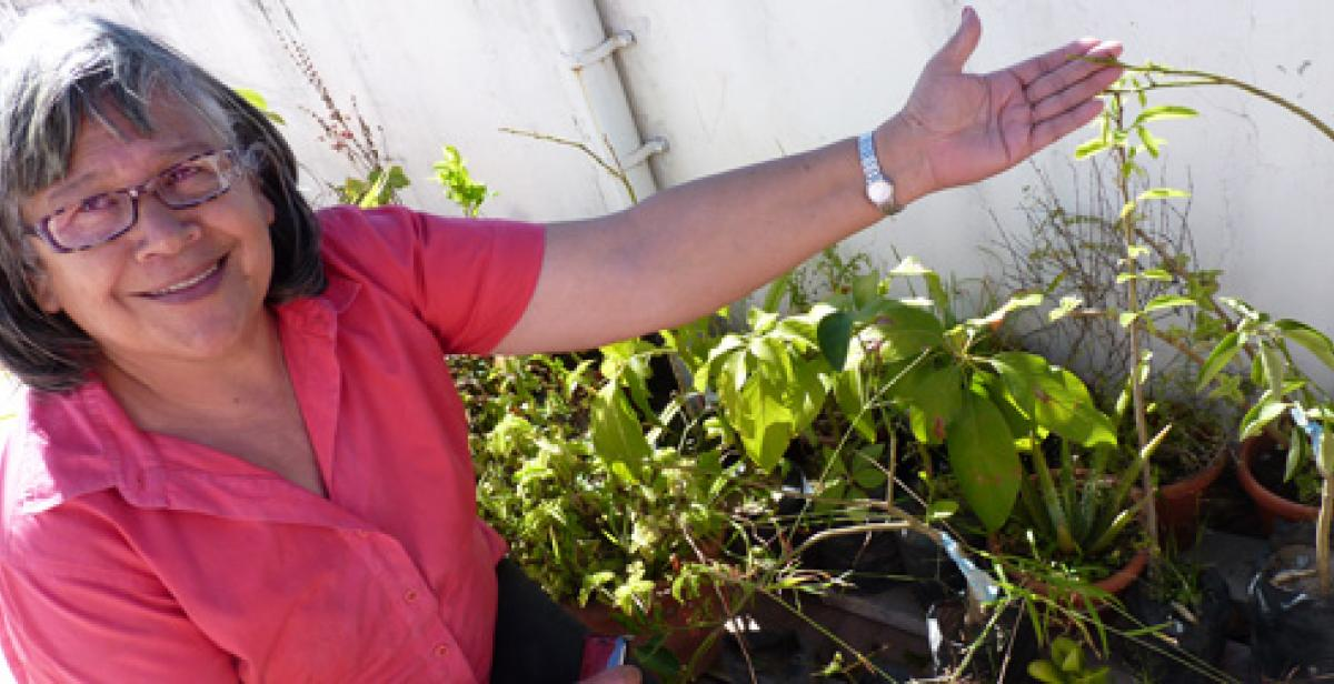 Maritza Arevalo shows off her urban farming