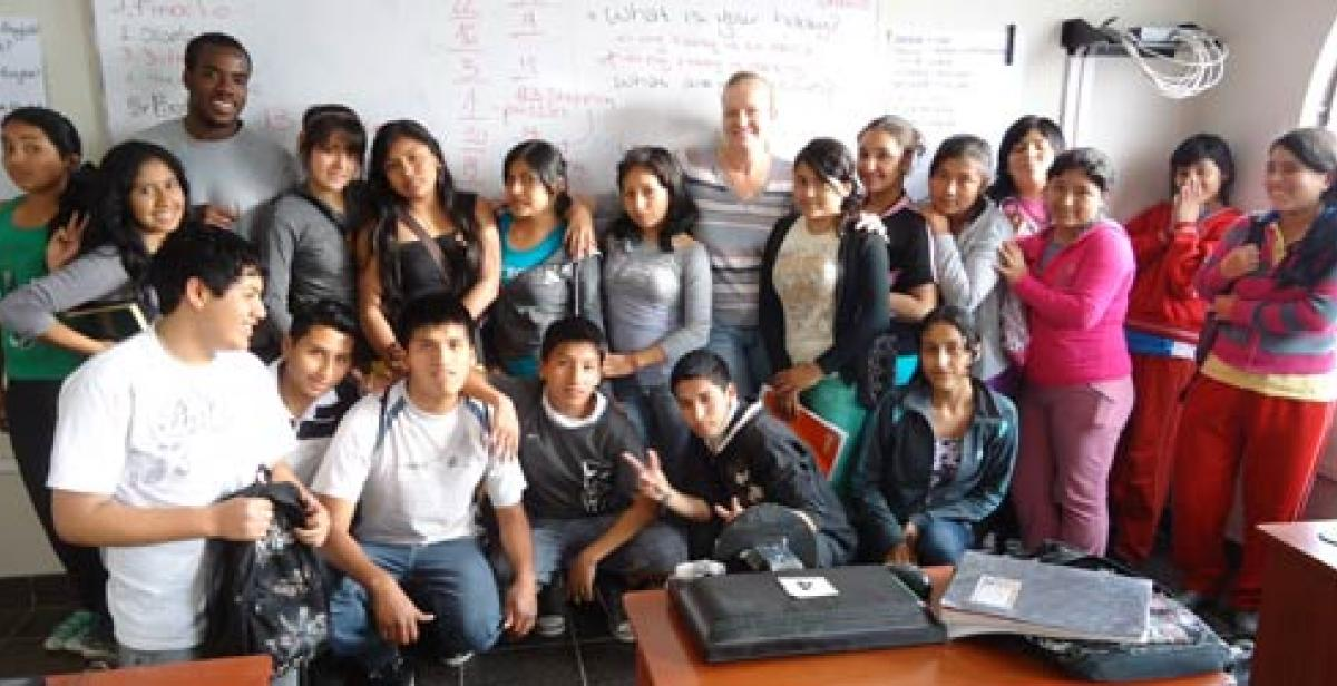 Students at an English evening class in Peru