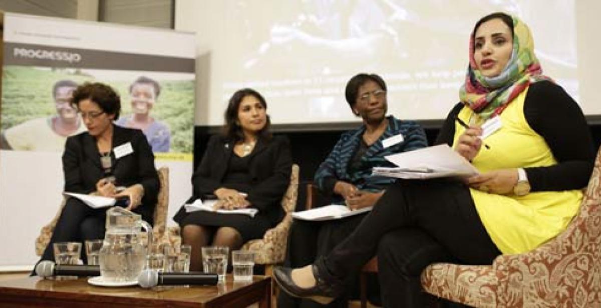 Panelists speaking at Fragile States, Phenomenal Women event